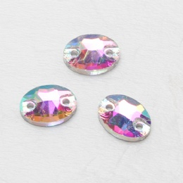Double hole glass rhinestone stone