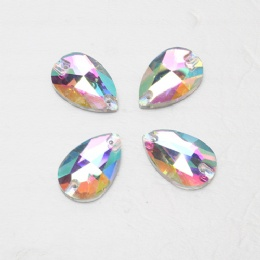 Drop shape glass rhinestone stone with hole
