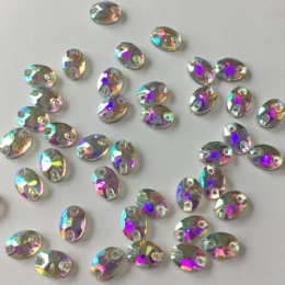 10*7mm ab oval glass rhinestone with hole
