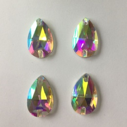 16*25mm ab drop glass rhinestone with hole